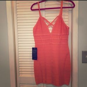 Coral Bebe body-con mini dress BRAND NEW WITH TAGS